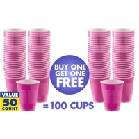 BOGO Bright Pink Plastic Cups 16oz 50ct