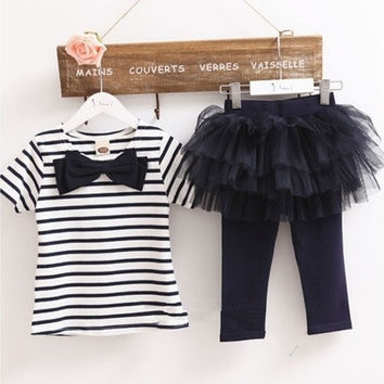 Cute Baby Kid Girl Tops Tee Shirt+Tulle Tutu Pant Skirt 2pcs Outfit Suit 3-7Y