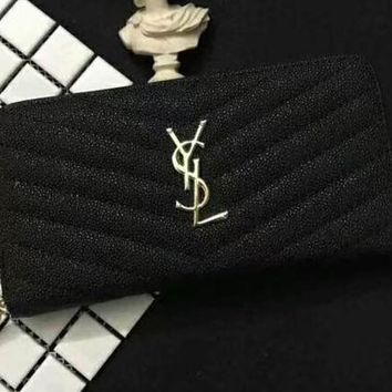 YSL Women Fashion Leather Buckle Wallet Purse Black