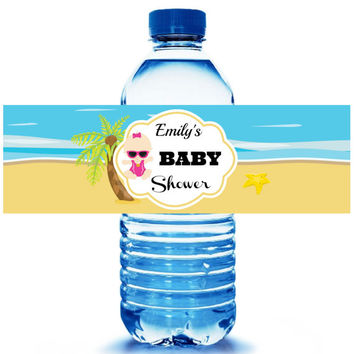Beach Baby Shower Water Bottle Label 10ct - Party Supplies - Beach Party Favors - Water Bottle Wrappers - FREE Personalization