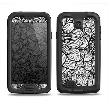 The White and Black Flower Illustration Samsung Galaxy S4 LifeProof Fre Case Skin Set