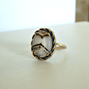 Vintage Clark Coombs Moss Agate Ring 10K Gold Filled Size 7.5