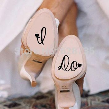 I Do Wedding Shoe Decal Cute Vinyl Creative Novelty Shoe Stickers for Wedding Accessories free shipping L2060