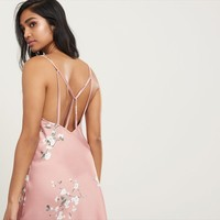 Floral Satin Midi Slip Dress
