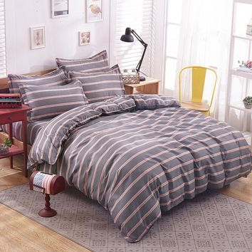 Home bed set grey bedding Summer duvet cover Female bedclothes 3/4pcs girl bedlinen women butterfly bedclothes stripe flat sheet