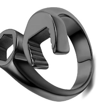 Fashion Cool Biker Mechanic Wrench Stainless Steel Mens Ring, 8