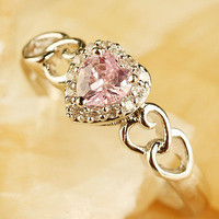 Heart Pink White Topaz Gemstone Silver Fashion Women Ring Sz 6 7 8 9 10 11 12 13