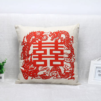 Vintage Printed Pillow Case Double Happiness Chinese Wind Cushion Cotton Linen Cover Square 45X45CM