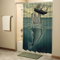Best Huge Whale Vintage Art Shower Curtain High Quality Bathroom 60x72 Inch
