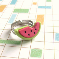 Sweet Summer Treat - Pink Green Waternelon - Adjustable Fruit Ring - OneUnglyUnicorn