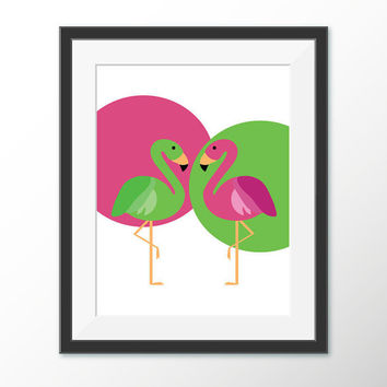 Flamingos Wall Art - Pink and Green Decor - Home Decor - Pink Flamingo Nursery Wall Art - Animal Art - Printable Wall Art - Digital Download