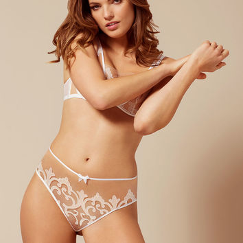 Haylie Brief White And Peach
