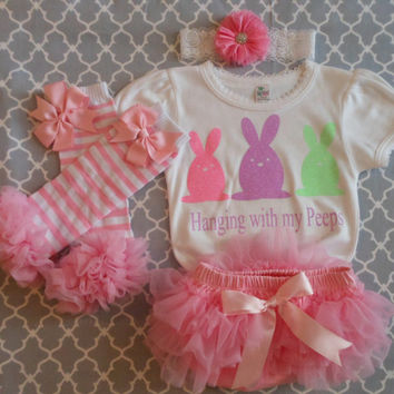 Infant Easter Girl Take Home Outfit Couture White Bodysuit & Headband Set with Chicks, Spring, Easter, Baby Shower, New Baby Gift