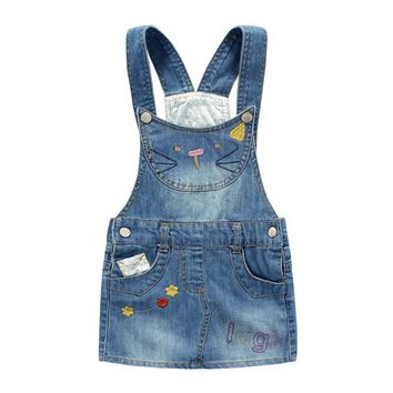 Girls Jeans Skirt Toddler Denim Skirt Cute Hello Kitty Suspender Overalls Casual Clothes