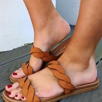 All Twisted Sandals: Cognac