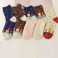 1 Pcs 5 Colors Womens Winter Socks Cashmere Wool Thick Warm Fashion House Tree Printing Socks Lsn