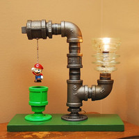 Mario Bros Theme Industrial Pipe Lamp by TRoweDesigns on Etsy