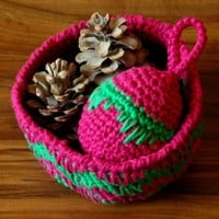Basket in Red and Green Geometric Stitch - Winter Color Decor OOAK