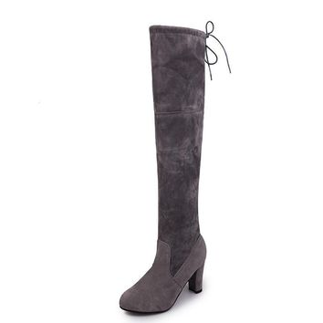 Cow Suede Women Slim Boots High Heel Boots Stretch Sexy Over The Knee Boots for Women's Fashion Winter Spring
