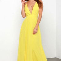 Crossing Spaghetti Straps Elegant Chiffon Maxi Dress