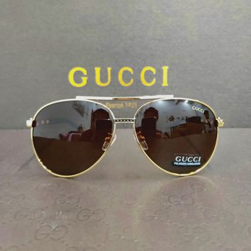 GUCCI tide brand driving men and women retro large frame anti-UV polarized sunglasses