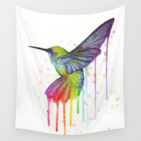 Hummingbird Rainbow Watercolor Wall Tapestry by Olechka