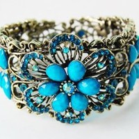 Vintage ish Faux Turquoise Bead Flower Dragonfly Rhinestone Bracelet Bangle Cuff: Jewelry: Amazon.com