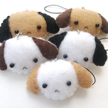 Cute Puppy Dog - Felt Phone Charm, Keychain, and Christmas Ornament