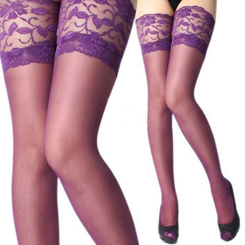 Sexy Womens Lace Top Stay Up Thigh-Highs Stockings Pantyhose Purple = 1705756100