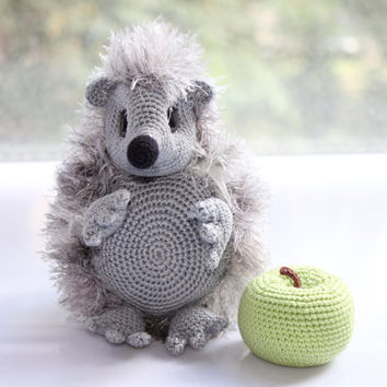 Crocheted toy / Baby Hedgehog with apple / grey green / Fuzzy toy / Crocheted Animal