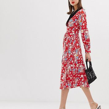 ASOS DESIGN midi dress with long sleeves in floral jacquard print | ASOS