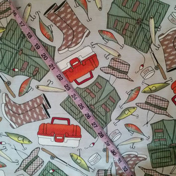 Quilting Flannel Fishing fabric fish fisherman vest tackle box rod lure cotton quilt print sewing material to sew craft project by the yard