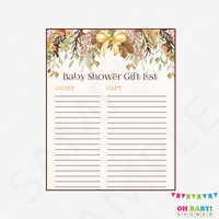 Fall Baby Shower Gift List, Floral Baby Shower Gift List, Rustic Baby Shower Printable Gift List, Boho Baby Shower, INSTANT DOWNLOAD, FF01