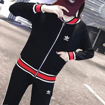 """Adidas"" Women Retro Casual Fashion Multicolor Long Sleeve Zip Cardigan Coat Trousers Set Two-Piece Sportswear"