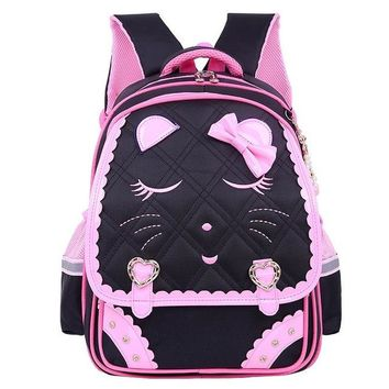School Backpack 2018 Sweet Cat Girl's School Bags Waterproof Cartoon Pattern Kid Backpack Schoolbag Children  Girl Book Bag AT_48_3