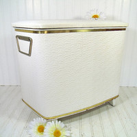 Hollywood Regency White & Gold Boudoir Hamper - Vintage Brearley Metal Quilted Cushioned Vinyl Upholstery Clothes Bin - Retro Laundry Basket