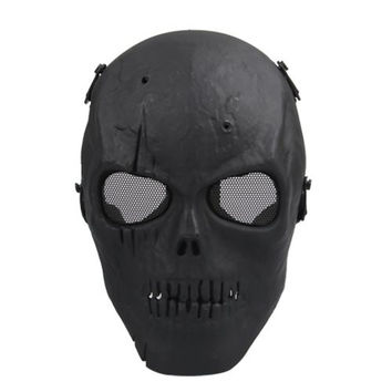 NFLC Airsoft Mask Skull Full Protective Mask Military - Black