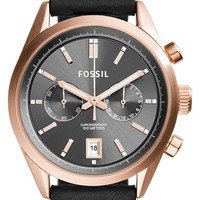 Women's Fossil 'Del Rey' Chronograph Leather Strap Watch, 46mm - Black/ Rose Gold