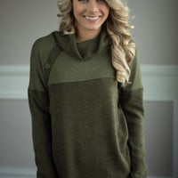 Olive Cowl Neck Button Top