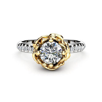 Conflict Free Diamond Engagement Ring Unique 14K Two Tone Gold Ring 0.5Ct Diamond Flower Engagement Ring