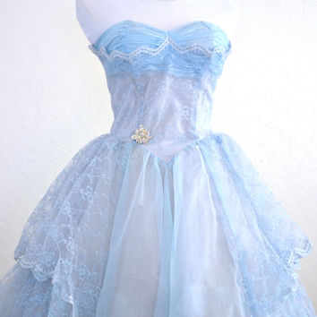 1950s Prom Dress Baby Blue Tulle Evening Gown Full Length Cupcake Style