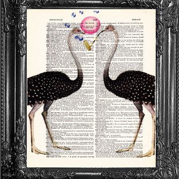 Ostrich Art, Funny Poster,Ostrich Bubblegum Poster Upcycled Dictionary Print, Cute Gift Poster, Dorm College Home Wall Decor