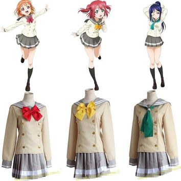 DCCKH6B LoveLive School Uniforms Love Live Sunshine! Aqours Takami Chika School Uniform Love Live Lolita Gilr Dress Cosplay Costume