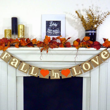 Fall In Love Banner - Bridal Shower Decorations - Wedding Banner - Wedding Garland - Sign - Photo Prop - Fall in Love Couples Shower