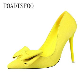 POADISFOO WOMEN SHOES pumps  fashion sweet fine with high-heeled pointed pointed suede bow women's shoes .ZWM-305