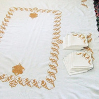 Cream Linen Tablecloth 12 Napkins Gold Cross Stitch