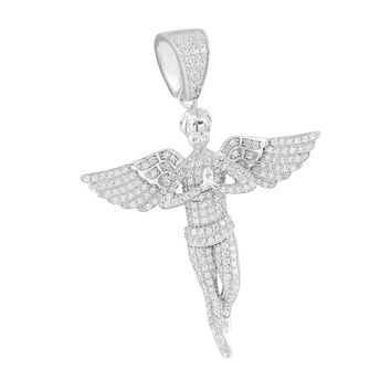 Praying Guardian Angel Pendant 14K Over Sterling Silver Lab Create Diamond