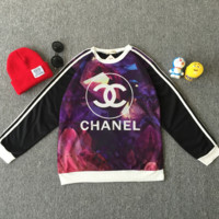 Chanel Woman Fashion Edgy Stripe Casual Sport Scoop Neck Top Sweater Sweatshirt