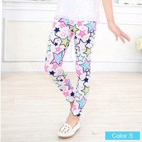White with Pencil Sketch Star Pattern Girls Leggings
