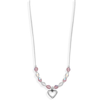 "13"" + 2"" Extension Crystal & Liquid Silver Children's Necklace- Open Heart Drop"